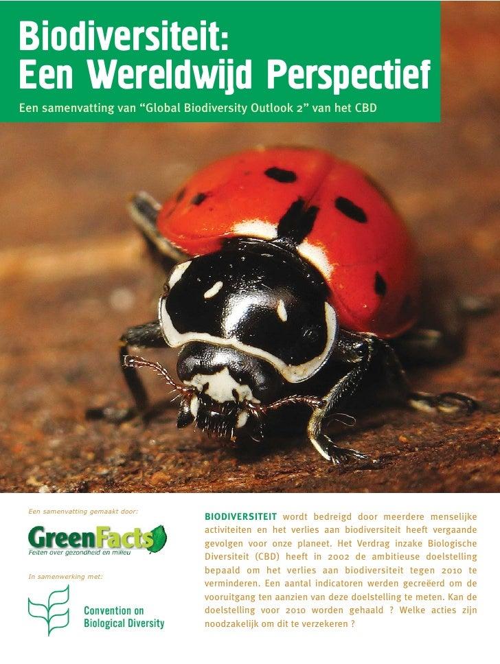 """Biodiversiteit:Een Wereldwijd PerspectiefEen samenvatting van """"Global Biodiversity Outlook 2"""" van het CBD Een samenvatting..."""