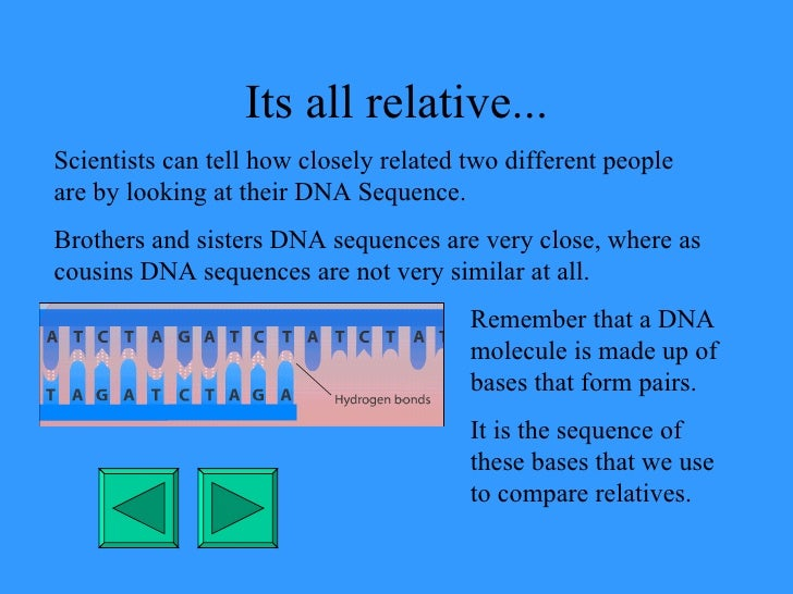 Its all relative... Scientists can tell how closely related two different people are by looking at their DNA Sequence. Bro...