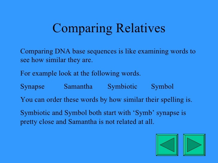 Comparing Relatives Comparing DNA base sequences is like examining words to see how similar they are. For example look at ...