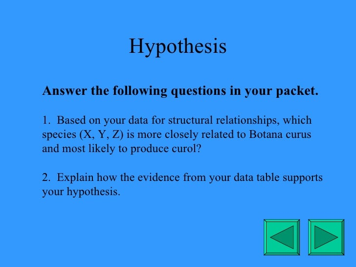 Hypothesis Answer the following questions in your packet. 1.  Based on your data for structural relationships, which speci...