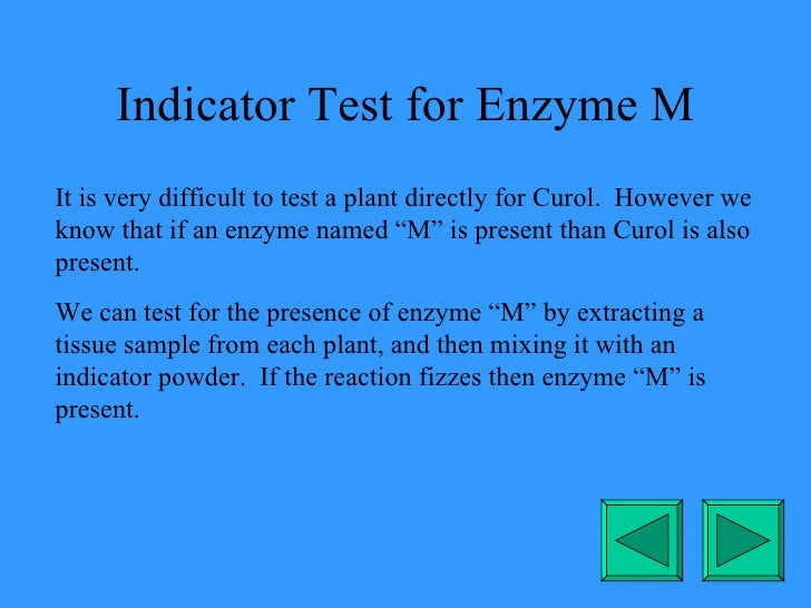 Indicator Test for Enzyme M It is very difficult to test a plant directly for Curol.  However we know that if an enzyme na...