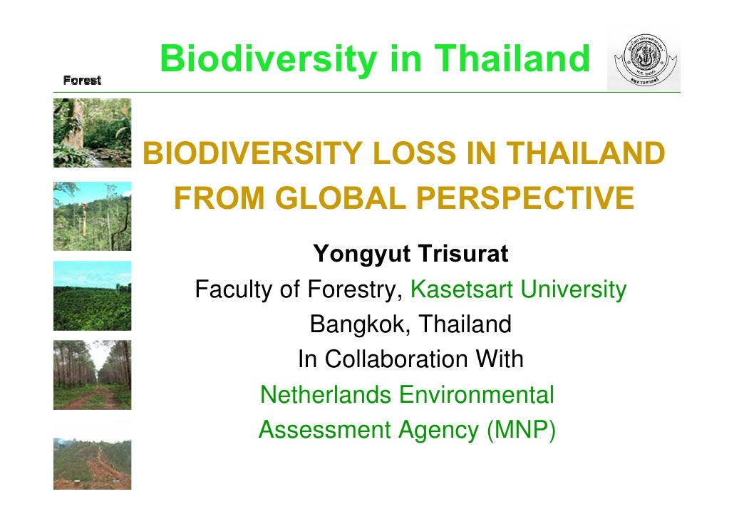 Biodiversity in Thailand  BIODIVERSITY LOSS IN THAILAND   FROM GLOBAL PERSPECTIVE               Yongyut Trisurat   Faculty...
