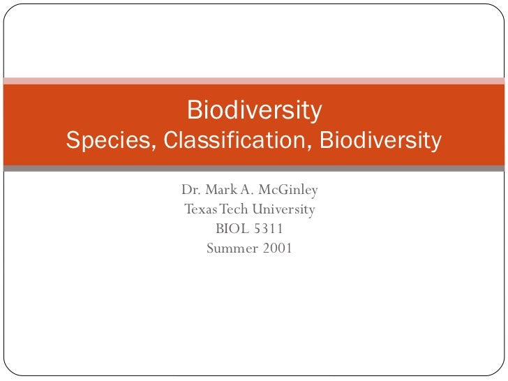 Dr. Mark A. McGinley Texas Tech University BIOL 5311 Summer 2001 Biodiversity Species, Classification, Biodiversity