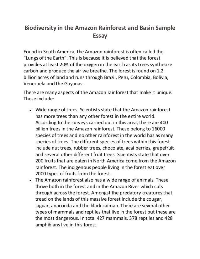 biodiversity in the amazon rainforest and basin sample essay biodiversity in the amazon rainforest and basin sample essay found in south america
