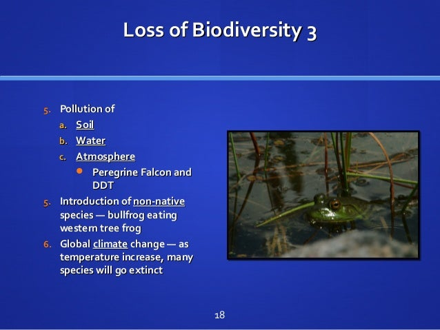 Loss of Biodiversity 3Loss of Biodiversity 3 5.5. Pollution ofPollution of a.a. SoilSoil b.b. WaterWater c.c. AtmosphereAt...