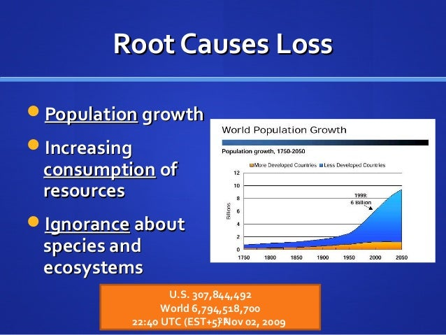 Root Causes LossRoot Causes Loss PopulationPopulation growthgrowth IncreasingIncreasing consumptionconsumption ofof reso...