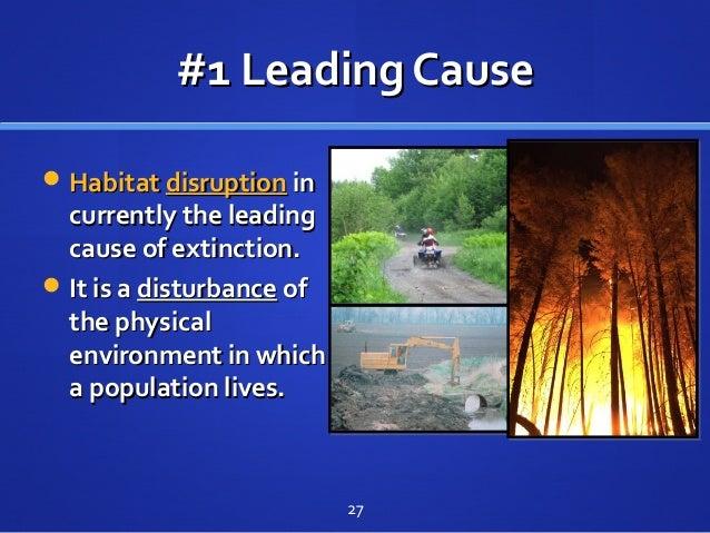 #1 Leading Cause#1 Leading Cause HabitatHabitat disruptiondisruption inin currently the leadingcurrently the leading caus...