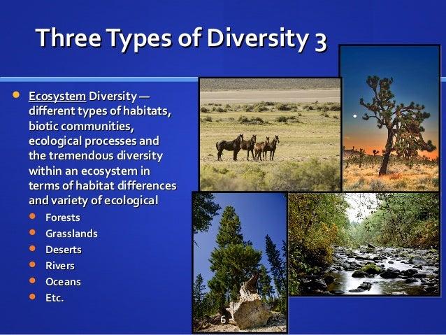 ThreeTypes of Diversity 3ThreeTypes of Diversity 3  EcosystemEcosystem Diversity —Diversity — different types of habitats...