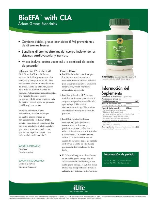 BioEFA with CLA ™  Ácidos Grasos Esenciales  • Contiene ácidos grasos esenciales (EFA) provenientes de diferentes fuentes...