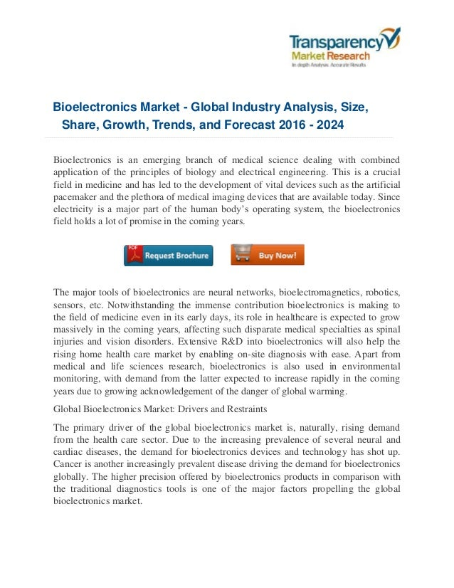 Bioelectronics Market - Global Industry Analysis, Size, Share, Growth, Trends, and Forecast 2016 - 2024 Bioelectronics is ...
