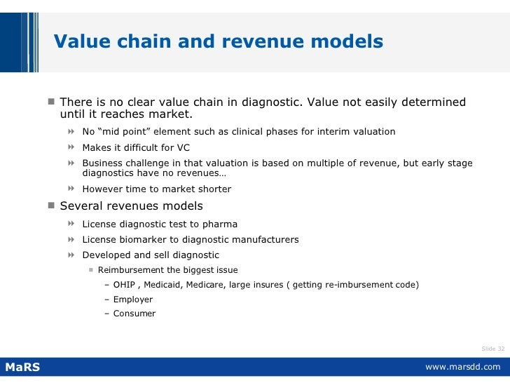 Value chain and revenue models <ul><li>There is no clear value chain in diagnostic. Value not easily determined until it r...
