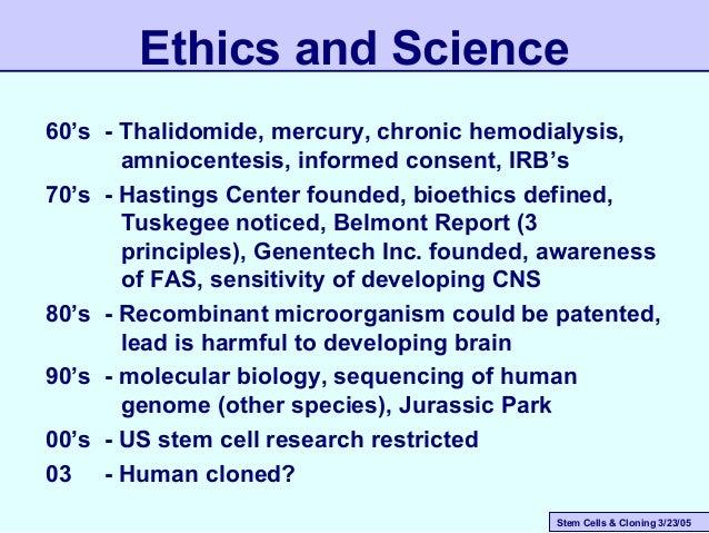Stem Cells & Cloning 3/23/05 60's - Thalidomide, mercury, chronic hemodialysis, amniocentesis, informed consent, IRB's 70'...