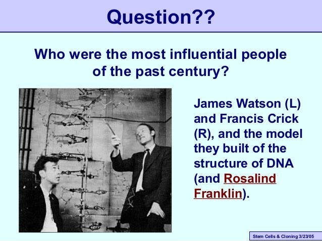 Stem Cells & Cloning 3/23/05 Question?? Who were the most influential people of the past century? James Watson (L) and Fra...