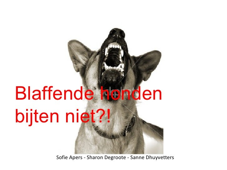 Blaffende honden bijten niet?! Sofie Apers - Sharon Degroote - Sanne Dhuyvetters