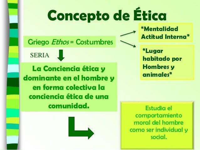 Concepto de Ética La Conciencia ética y dominante en el hombre y en forma colectiva la conciencia ética de una comunidad. ...