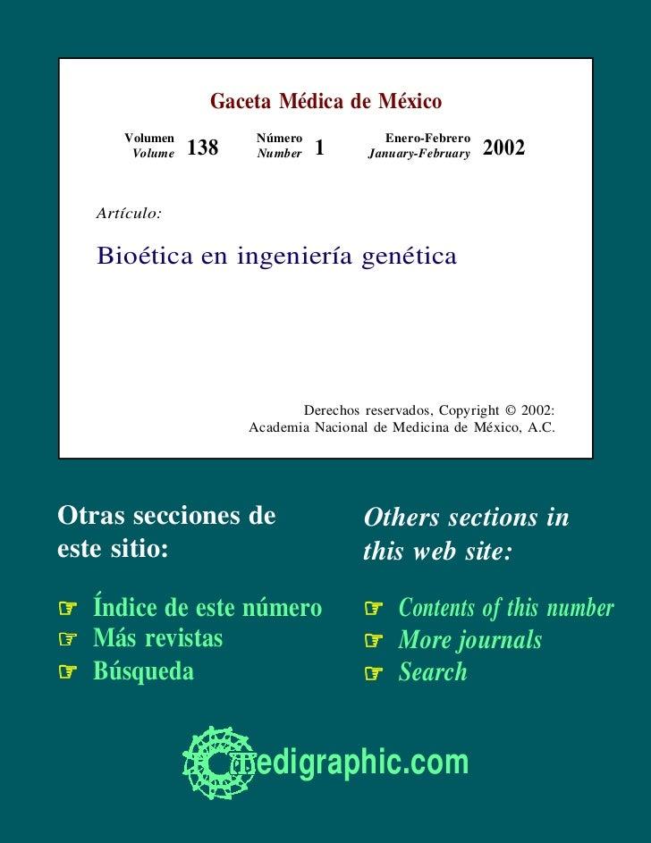 Gaceta Médica de México      Volumen          Número            Enero-Febrero       Volume   138    Number   1      Januar...