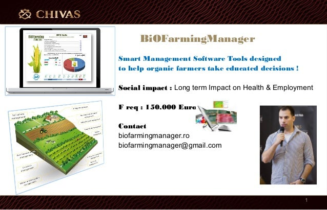 BiOFarmingManager Smart Management Software Tools designed to help organic farmers take educated decisions ! Social impact...