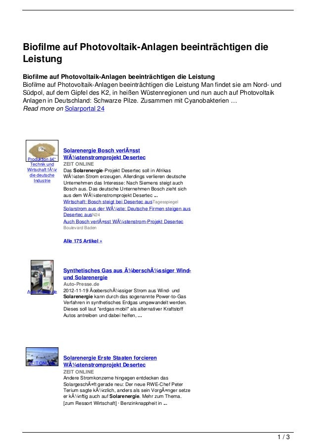 Biofilme auf Photovoltaik-Anlagen beeinträchtigen dieLeistungBiofilme auf Photovoltaik-Anlagen beeinträchtigen die Leistun...