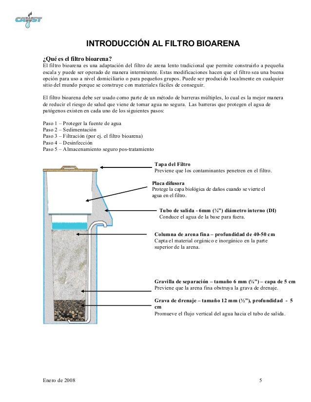 Biofiltro de arena cawst - Filtro de arena ...