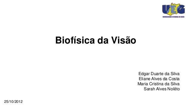 Biofísica da Visão                                  Edgar Duarte da Silva                                  Eliane Alves da...