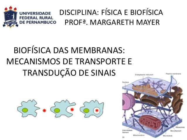 DISCIPLINA: FÍSICA E BIOFÍSICA PROFª. MARGARETH MAYER  BIOFÍSICA DAS MEMBRANAS: MECANISMOS DE TRANSPORTE E TRANSDUÇÃO DE S...
