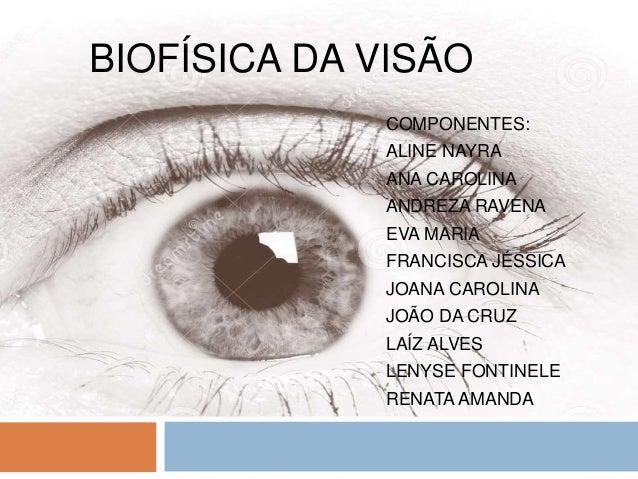 BIOFÍSICA DA VISÃO COMPONENTES: ALINE NAYRA ANA CAROLINA ANDREZA RAVENA EVA MARIA FRANCISCA JÉSSICA JOANA CAROLINA JOÃO DA...