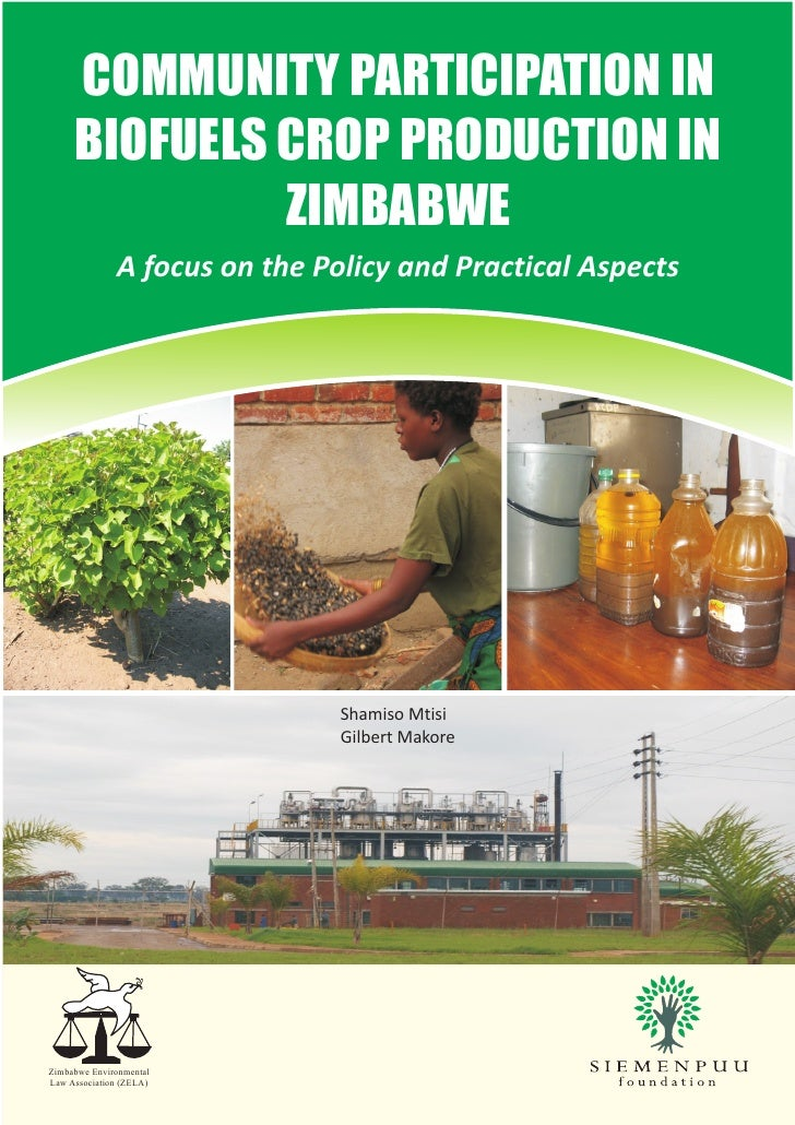 COMMUNITY PARTICIPATION IN      BIOFUELS CROP PRODUCTION IN               ZIMBABWE               A focus on the Policy and...
