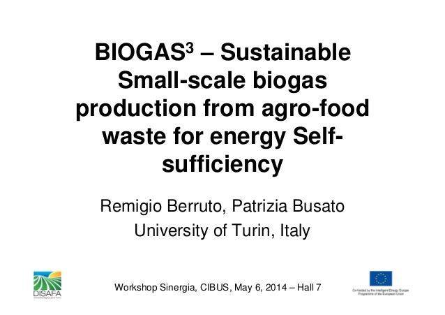BIOGAS3 – Sustainable Small-scale biogas production from agro-food waste for energy Self- sufficiency Remigio Berruto, Pat...