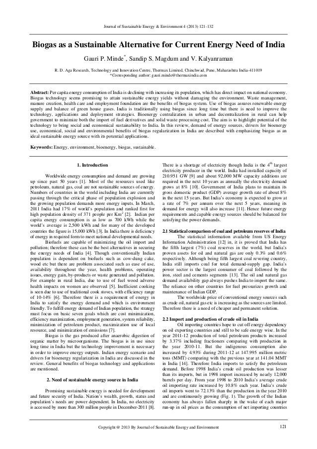 Journal of Sustainable Energy & Environment 4 (2013) 121-132 Copyright @ 2013 By Journal of Sustainable Energy and Environ...