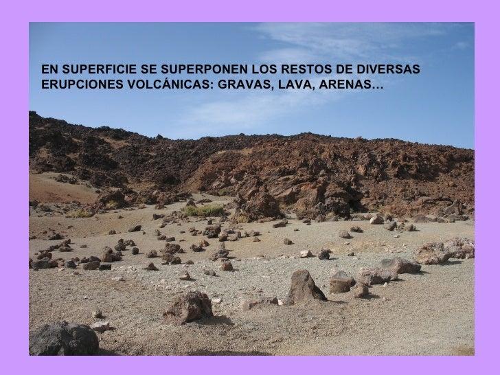 EN SUPERFICIE SE SUPERPONEN LOS RESTOS DE DIVERSAS ERUPCIONES VOLCÁNICAS: GRAVAS, LAVA, ARENAS…