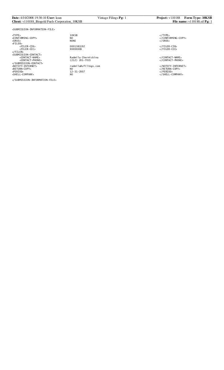 Date: 4/10/2008 19:30:10 User: ksun                     Vintage Filings Pg: 1   Project: v110188 Form Type: 10KSBClient: v...