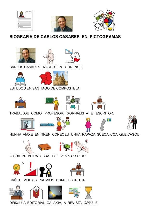 BIOGRAFÍA DE CARLOS CASARES EN PICTOGRAMAS CARLOS CASARES NACEU EN OURENSE. ESTUDOU EN SANTIAGO DE COMPOSTELA. TRABALLOU C...