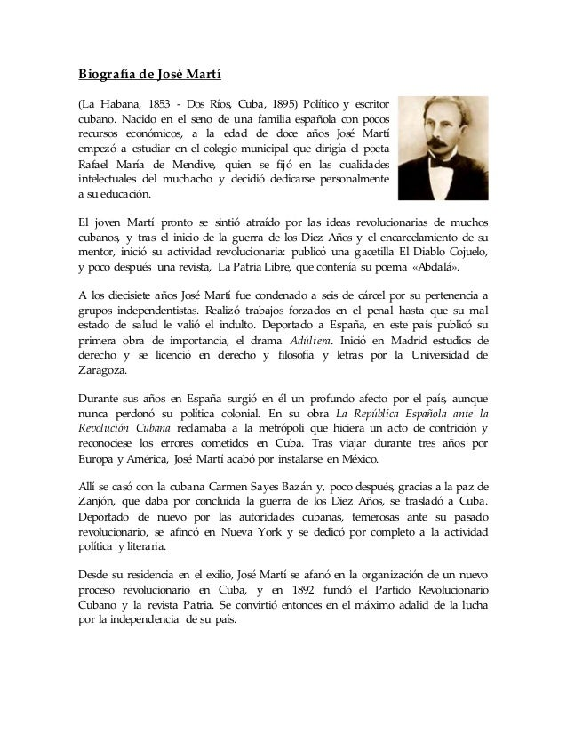 Biografía de José Martí (La Habana, 1853 - Dos Ríos, Cuba, 1895) Político y escritor cubano. Nacido en el seno de una fami...