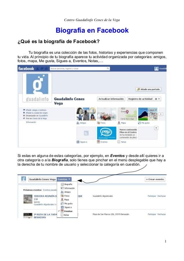 Centro Guadalinfo Cenes de la Vega                       Biografía en Facebook¿Qué es la biografía de Facebook?       Tu b...