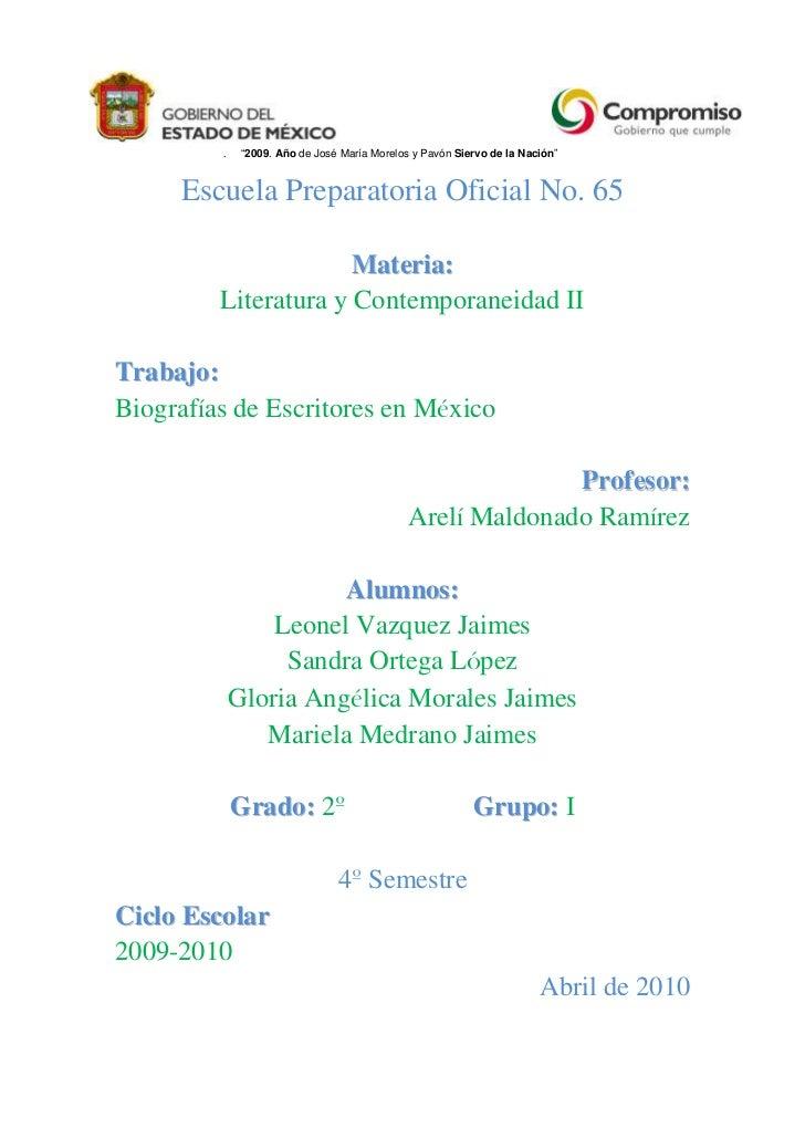 """""""2009. Año de José María Morelos y Pavón Siervo de la Nación""""e<br />Escuela Preparatoria Oficial No. 65<br />Materia:<br /..."""