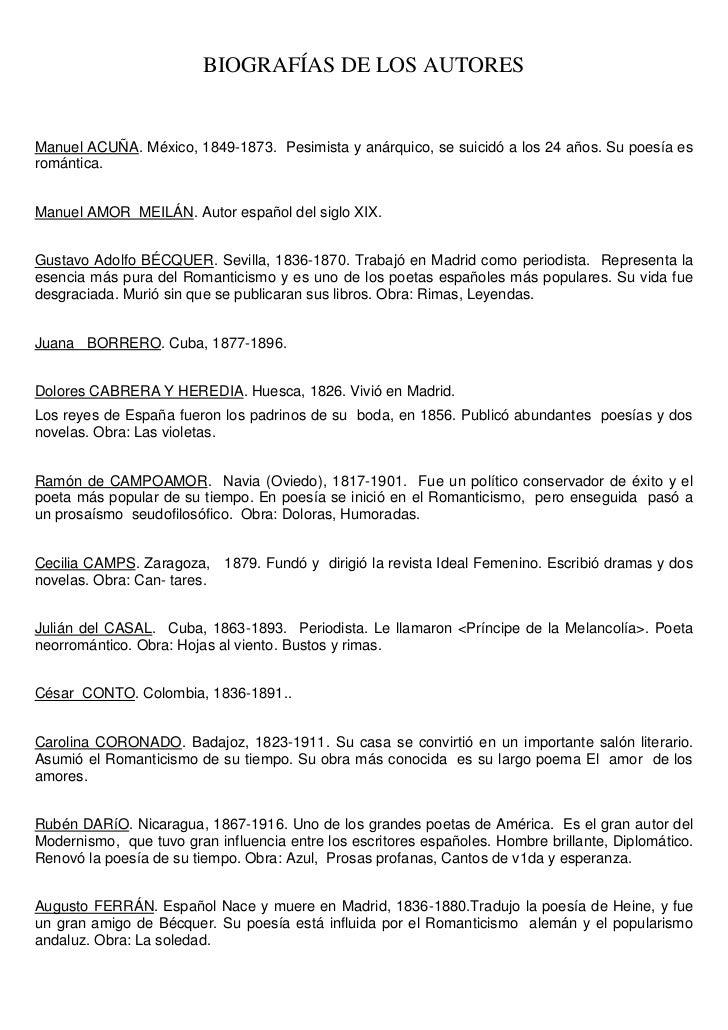 BIOGRAFÍAS DE LOS AUTORESManuel ACUÑA. México, 1849-1873. Pesimista y anárquico, se suicidó a los 24 años. Su poesía esrom...