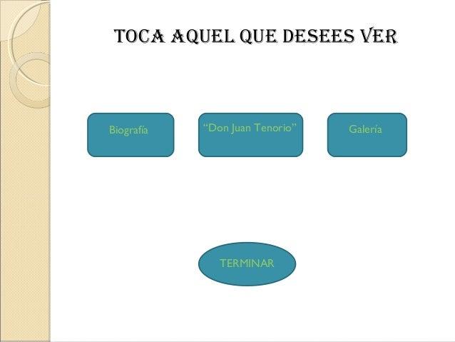 """Biografía """"Don Juan Tenorio""""TOCA AQUEL QUE DESEES VERTERMINARGalería"""