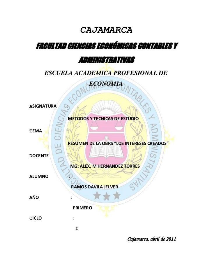 CAJAMARCA<br />309245723265FACULTAD CIENCIAS ECONÓMICAS CONTABLES Y ADMINISTRATIVAS<br />ESCUELA ACADEMICA PROFESIONAL DE ...