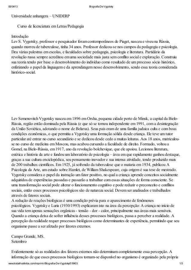 06/04/13                                                        Biografia De Vygotsky  Universidade anhangera – UNIDERP   ...