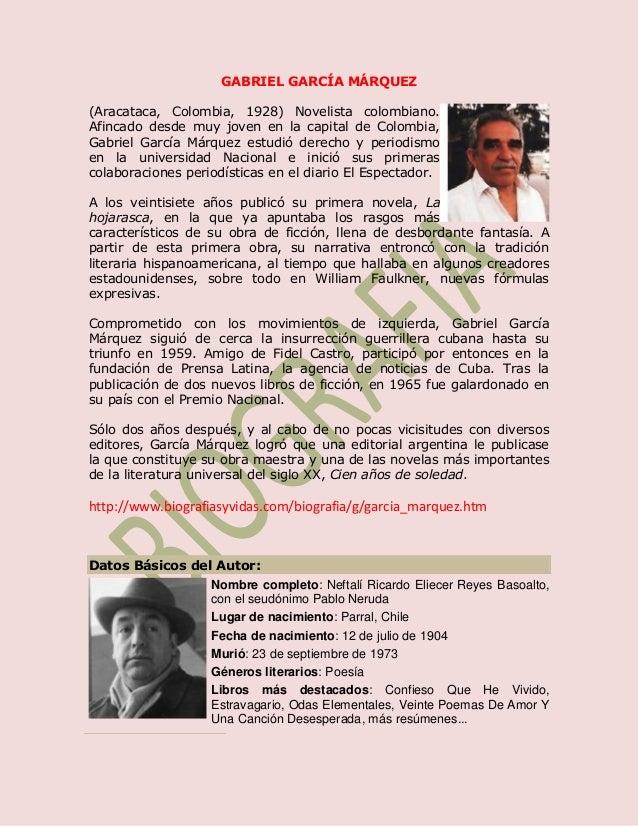 GABRIEL GARCÍA MÁRQUEZ(Aracataca, Colombia, 1928) Novelista colombiano.Afincado desde muy joven en la capital de Colombia,...