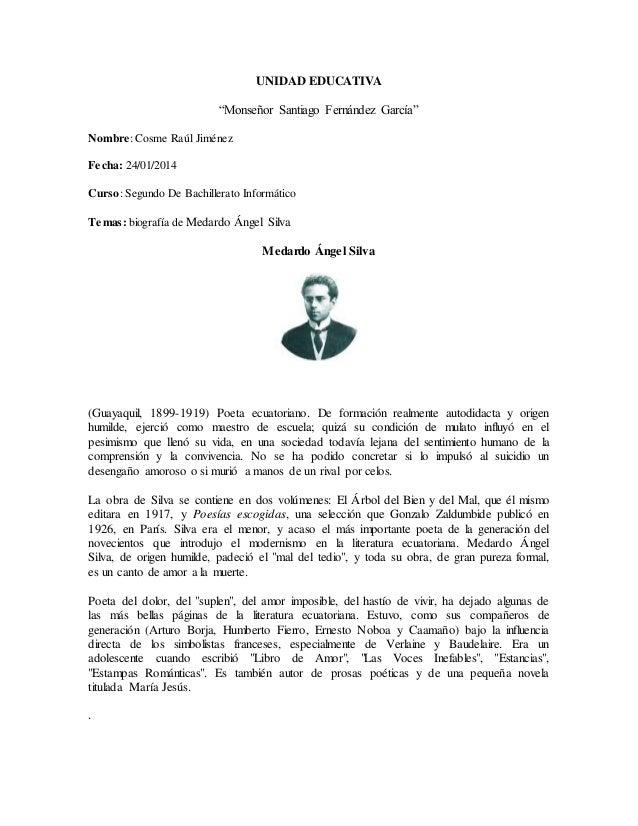 """UNIDAD EDUCATIVA """"Monseñor Santiago Fernández García"""" Nombre: Cosme Raúl Jiménez Fecha: 24/01/2014 Curso: Segundo De Bachi..."""