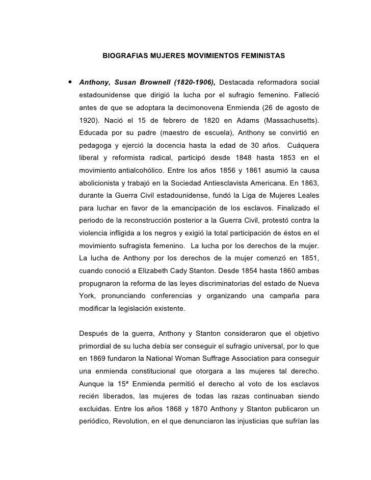 BIOGRAFIAS MUJERES MOVIMIENTOS FEMINISTAS• Anthony, Susan Brownell (1820-1906), Destacada reformadora social  estadouniden...