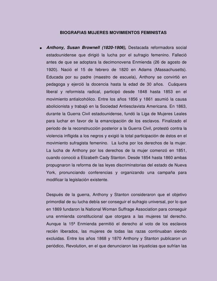 BIOGRAFIAS MUJERES MOVIMIENTOS FEMINISTAS<br />Anthony, Susan Brownell (1820-1906), Destacada reformadora social estadouni...