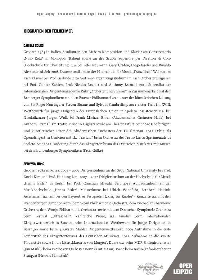 Oper Leipzig | Pressebüro | Bettina Auge | 0341 / 12 61 266 | presse@oper-leipzig.deBIOGRAFIEN DER TEILNEHMERDANIELE SQUEO...