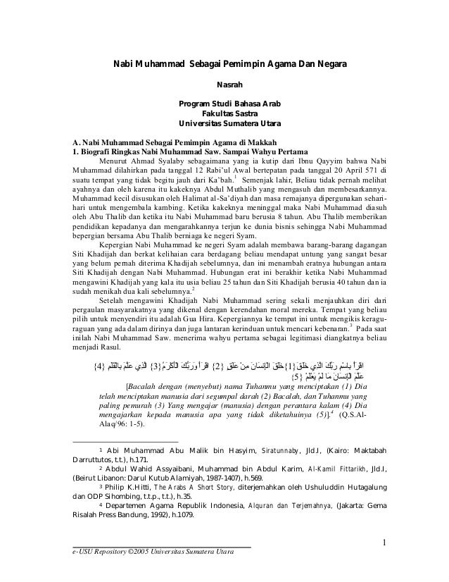 Nabi Muhammad Sebagai Pemimpin Agama Dan Negara Nasrah Program Studi Bahasa Arab Fakultas Sastra Universitas Sumatera Utar...