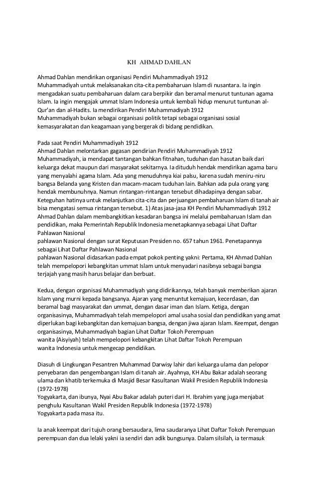 KH AHMAD DAHLAN Ahmad Dahlan mendirikan organisasi Pendiri Muhammadiyah 1912 Muhammadiyah untuk melaksanakan cita-cita pem...
