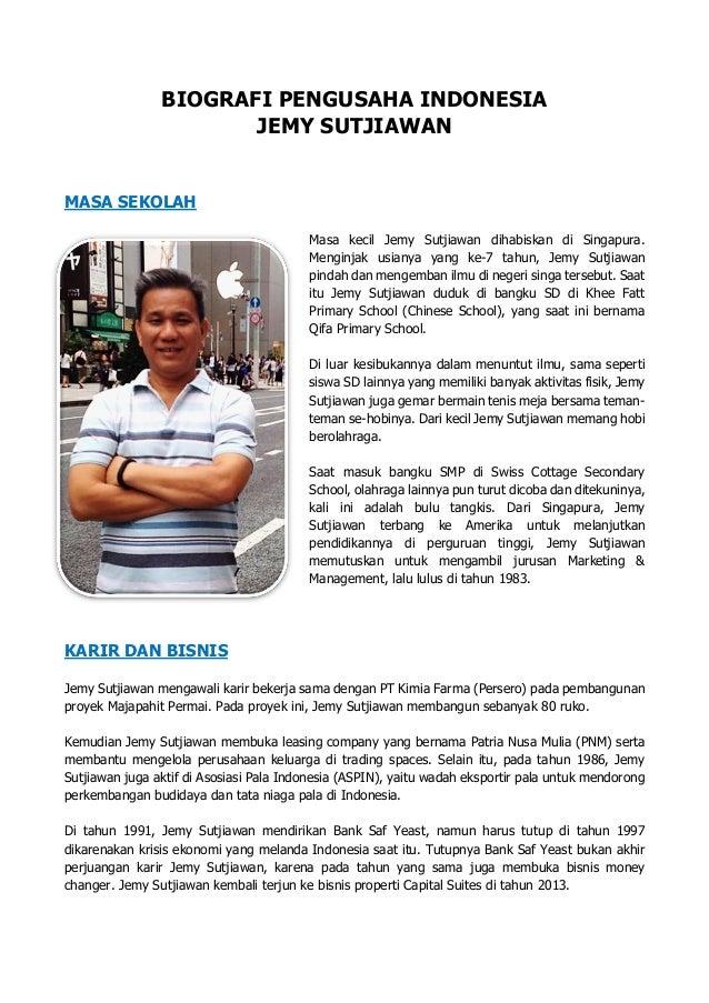 Biografi Pengusaha Indonesia Jemy Sutjiawan