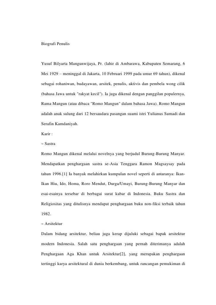 biografi penulisyusuf bilyarta mangunwijaya pr lahir di ambarawa kabupaten semarang