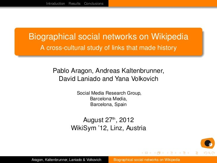 Introduction Results ConclusionsBiographical social networks on Wikipedia     A cross-cultural study of links that made hi...