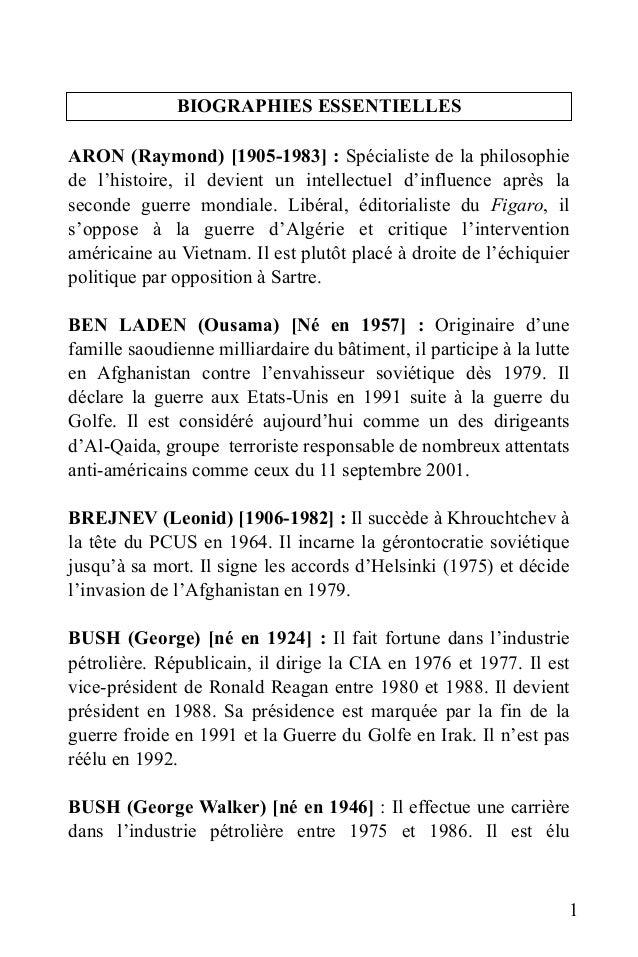 BIOGRAPHIES ESSENTIELLES ARON (Raymond) [1905-1983] : Spécialiste de la philosophie de l'histoire, il devient un intellect...